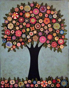 Just had to post a picture of this fantastic folk art inspired collage painting by Karla Gerard. Im starting to notice my growing attraction towards this folk art style and the beauty in its simplicity and naivete. Button Art, Button Crafts, Illustrations, Illustration Art, Karla Gerard, Mandala, Naive Art, Art Plastique, Tree Art