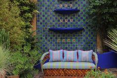 "Sky blue on Plaid hand embroidered sham with Fushia piping Scarlett ""O – Casa Otomi Mexico, Tenango, wedding, textile, mexican suzani, embroidery, hand embroidered, otomi, fiber art, mexican, handmade,  casa, decor, interior, frida, kahlo, folk,  folk art, house, home, puebla, las flores, cushion, serape, preppy, gingham, polka dots, pink, lime, green, lily pulitizer, pouf, elle decor, boho, style, bestey johnson, lily pultizer, interior, stripes, southern living, southern style,"