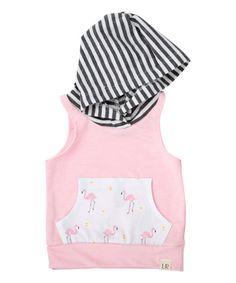 Soft Pink Flamingo Sleeveless Hoodie - Infant & Kids