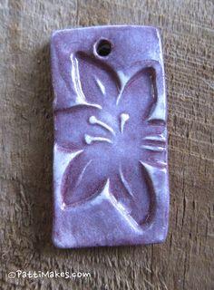 Purple Handmade Ceramic Hibiscus Flower pendant 15 by PattiMakes, $4.00