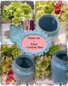 Pickle Jar + Paint = Custom Colored Vases!
