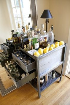 A home bar is one of the most fun places in the house, and it's a great area to add a pop of color—whether in the cabinetry, stools, walls or art. Check out 33 custom home bar design ideas. All styles, sizes and materials. These are awesome. Metal Bar Cart, Gold Bar Cart, Bar Furniture, Vintage Furniture, Bar Deco, Sweet Home, Bar Cart Decor, Diy Bar Cart, Vintage Bar