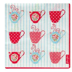 Paper Napkin Millie Blue Teacup, Greengate Kitchen / Dining Textiles from Berry Red