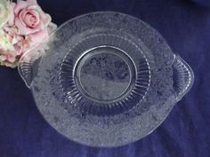 Vintage Bird and Vine Etched Glass Handled Plate Platter - Large Serving Plate - Etched Glass Plate - Clear Glass Serving Platter by SecondWindShop on Etsy