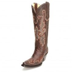 Corral Brown Tall Top Studded Cowgirl Boots