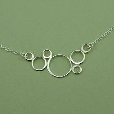Floating Bubbles Necklace - women's sterling silver circle pendant jewelry - christmas gift idea