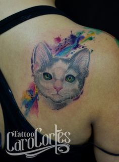 Watercolor & Cat - Gato y Acuarela Caro cortes Colombian tattoo artist. carocortes.tumblr... www.carocortes.com/ #cat #watercolor #tattoo #watercolorcat #gato #tatuaje #acuarelado #carocortes #carocortes.com #tattoocarocortes #colombian #tattooartist