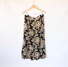 Vintage 80s Black & Tan Floral Long Lightweight Skirt // Button Up Spring Skirt. $30.00, via Etsy.