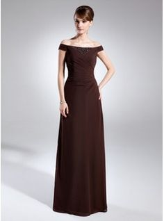 Mother of the Bride Dresses - $151.99 - A-Line/Princess Off-the-Shoulder Floor-Length Chiffon Mother of the Bride Dress With Ruffle Beading  http://www.dressfirst.com/A-Line-Princess-Off-The-Shoulder-Floor-Length-Chiffon-Mother-Of-The-Bride-Dress-With-Ruffle-Beading-008015718-g15718