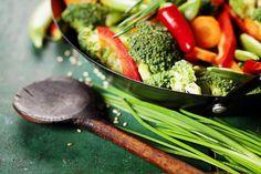 Superselle wokschotel met groente en garnalen