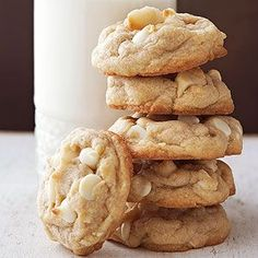 Macadamia Nut and White Chocolate Chip Cookies Macadamia nuts and white chocolate pieces are meant to be friends. The salty-sweet pair stars in this timeless cookie recipe featuring simple sugar cookie dough and buttery bites of soft vanilla flavor.