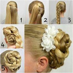 Step by Step Braided Bun Hairstyles how to braided bun hair tutorial how to braided space buns how to make a braided bun how to make a braided Bridal Hairstyles With Braids, Braided Hairstyles, Wedding Hairstyles, Hairstyles Haircuts, Simple Hairstyles, Braided Updo, Hair Designs, Flowers In Hair, Hair Hacks