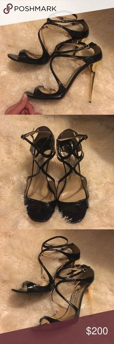 JIMMY CHOO LANCE LANG MIRRORED BLACK SANDALS Jimmy Choo lance heels. Black patent with mirrored gold heels. Size 41-- run small so size down. Good used condition, show west all around. No trades. Jimmy Choo Shoes Sandals