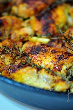 Skillet Roasted Chicken Recipe from addapinch.com
