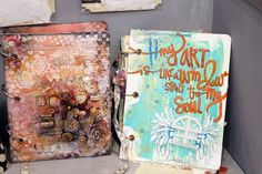 Here are a pair of our new Mixed Media albums in completely different styles, but both showing the possibilities when using the NEW Mixed Media Album canvas covers.