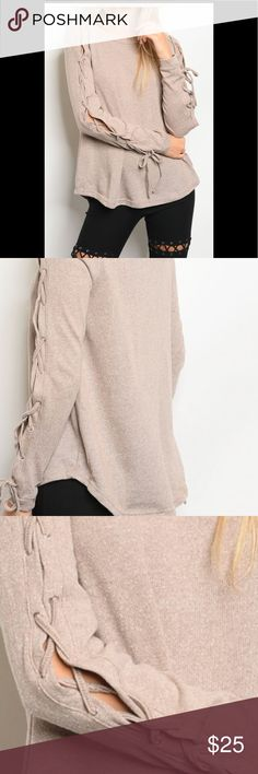 Taupe women's shirt New, Taupe colored, women's boutique long sleeve, lace up detail, rounded neckline , 72% polyester 28% cotton, light weight knit Tops Blouses