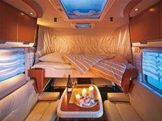 Drop-down Bed Motorhome Layouts - Buyers Guide - Motorhomes & Campervans Motorhome Interior, Campervan Interior, Caravan Inside, Campervan Bed, Transit Camper, Ford Transit, Van Dwelling, Diy Camper, Camper Ideas
