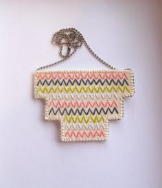 Bib necklace embroidered geometric zigzags in by AnAstridEndeavor
