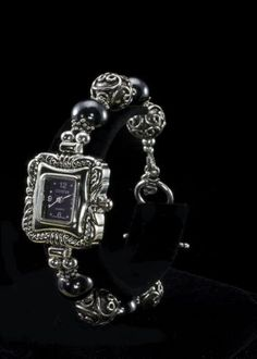 """Hematite Bead Watch  Hematite beads, Sterling silver handmade beads, black Geneva watch face and sterling silver adjustable toggle clasp. 7-1/2"""""""" to 8""""""""   http://www.sterlingjewelrystores.com/sterling-silver-hematite-bead-watch.html"""