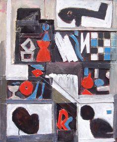 """Edwin Studer (Taller Torres García) """"Constructivo con elementos"""" Collage y óleo sobre cartón 60 X 49 cms.  http://www.portondesanpedro.com/ver-producto.php?id=9192"""