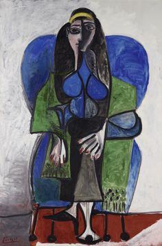 Pablo Picasso.  Femme assise à l'écharpe verte, 1960. Oil on canvas. 195,3 x 130,3 cm Leihgabe der Österreichischen Ludwig Stiftung/On loan from the Austrian Ludwig Foundation, seit/since 1991.  Mumok Collection | mumok
