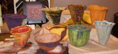 Felted wool vessels by Wenaha Gallery guest artist Sally Reichlin