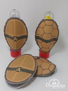 Aplique Casco para tubete Festa tartaruga ninja.                              …