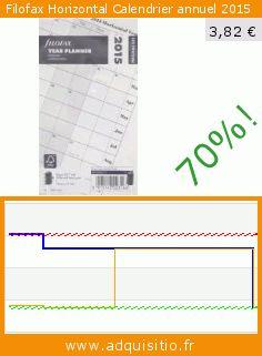 Filofax Horizontal Calendrier annuel 2015 (Fournitures de bureau). Réduction de 70%! Prix actuel 3,82 €, l'ancien prix était de 12,94 €. https://www.adquisitio.fr/filofax/horizontal-calendrier