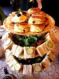 for a simple lunch - stack the scones and sandwiches
