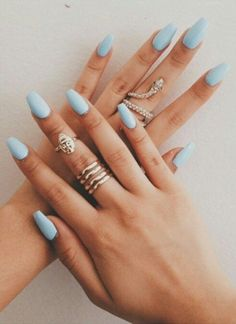 Light blue nails blue coffin nails blue acrylic nails acrylic nails for summer pastel blue nails Blue Coffin Nails, Blue Acrylic Nails, Summer Acrylic Nails, Acrylic Nail Designs, Stiletto Nails, Pastel Blue Nails, Light Blue Nails, Baby Blue Nails, Blue Nails With Glitter
