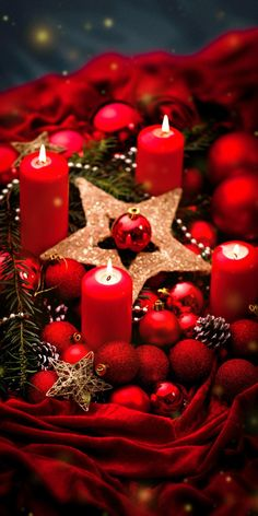 All Things Christmas, Red Christmas, Christmas Lights, Pillar Candles, Table Decorations, Furniture, Color, Home Decor, Background Designs