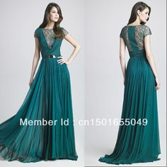 Designer Dark Green Elie Saab Chiffon Lace Long Evening Dress with Sleeves RC-26