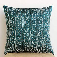 Decorative Throw Pillow Covers Accent Pillow 16x16 Pillow Cover Silk Embroidered Geometric Royal Peacock Green Bedroom Home Decor Bedding sur Etsy, $29.21 CAD