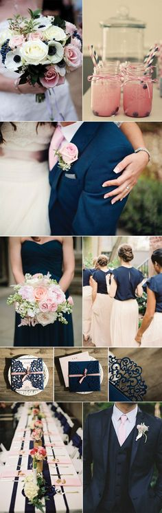 Wedding Inspiration for Ballet Pink and Navy Weddings.