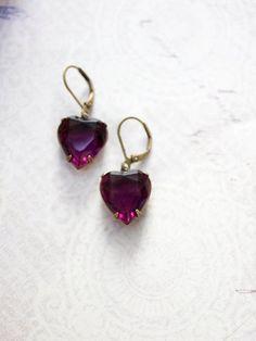 Dark Amethyst Rhinestone Heart Earrings