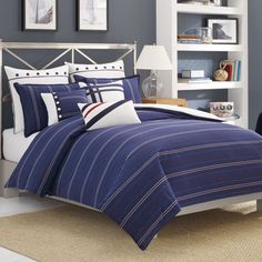 Full/Queen Duvet Cover (Nautica Winston) Navy