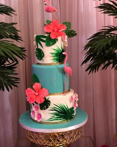 Hawaiian Birthday, Flamingo Birthday, Hawaiian Party Cake, Hawaiian Cakes, Aloha Cake, Pink Flamingo Party, Luau Cakes, Party Cakes, Luau Theme Party