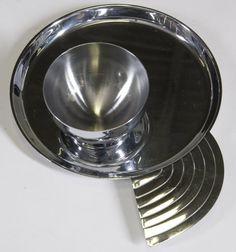 14: 12 Art Deco Lurelle Guild Canape Plates & Cups : Lot 14, Chase Chrome