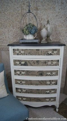 I love this idea of the printed burlap used on the drawers of this dresser. So clever! #diyfurnitureredo