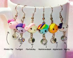 My Little Pony Earrings, MLP Jewelry, My Little Pony Kawaii Earrings, Kawaii Polymer Clay Jewelry, Dangling Kawaii Earrings