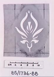 85/1736-88 Stencil on brown cardboard of symmet. floral des. - Powerhouse Museum Collection