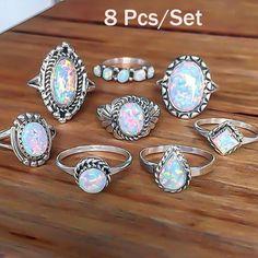 8Pcs/set Rings Set Sterling Silver Natural Gemstone Fire Opal Diamond Ring Wedding Engagement Jewelry Retro Simple Rings Set
