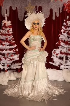 Lady Gaga's Crocheted Cling Wrap Gown