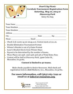 2014 Pearl City Picnic Fundraiser Cornhole Bags Tournament BBQ Contest Saturday, May 10 at Discovery Park in Muscatine, Iowa For more information, call (563) 263-7292 or email info@sr-resources.org