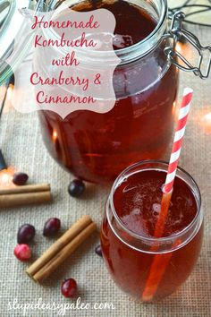 Kombucha Recipes for the Holidays: Pomegranate and Cranberry Stupid Easy Paleo - Easy Paleo Recipes to Help You Just Eat Real Food Kombucha Drink, Kombucha Flavors, How To Brew Kombucha, Kombucha Recipe, Making Kombucha, Kombucha Brewing, Kefir Recipes, Tea Recipes, Real Food Recipes