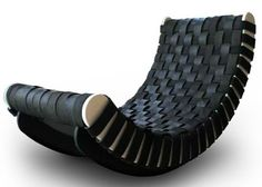  Dwell: The Tired Lounge chair, designed by Leo Kempf is made of FSC Birch and recycled tires for a stylish and ecologically friendly piece of furniture.