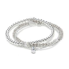 A trio of stackable 925 Sterling Silver bracelets featuring genuine Swarovski Crystals and a pretty Heart Crystal charm. Stackable Bracelets, Bangle Bracelets, Bangles, Luxury Gifts, Sterling Silver Bracelets, Fuji, Swarovski Crystals, Women Jewelry, Jewels