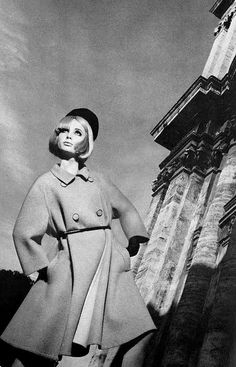 Sue Murray wearing Fabiani. Photographed by David Bailey in Italy. Vogue, April 1965.