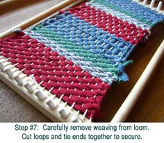 weaving t-shirts into washcloths, rugs, etc
