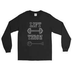 Lift Weights Throw Hammer- Long Sleeve T-Shirt. Hammer thrower shirt by Throw Happy.